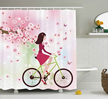 Pink Shower Curtain By Lunarable Modern Girl Riding Vintage Retro Bike Lilies Flowers Image Print