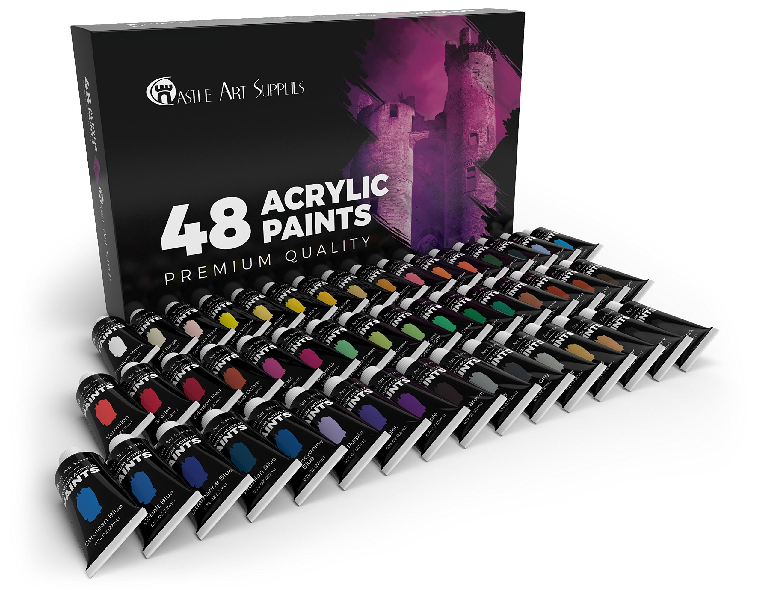 Castle Art Supplies Acrylic Paint Set - 48 Vibrant Colors with Larger Tubes - The Premium Kit for Artists, Beginners or Kids by Castle Art Supplies (Image #6)