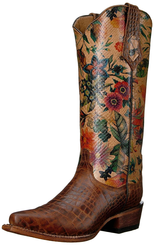 Women's Ladies Print Belly Gator Vintage Brown V-Toe Western Boot