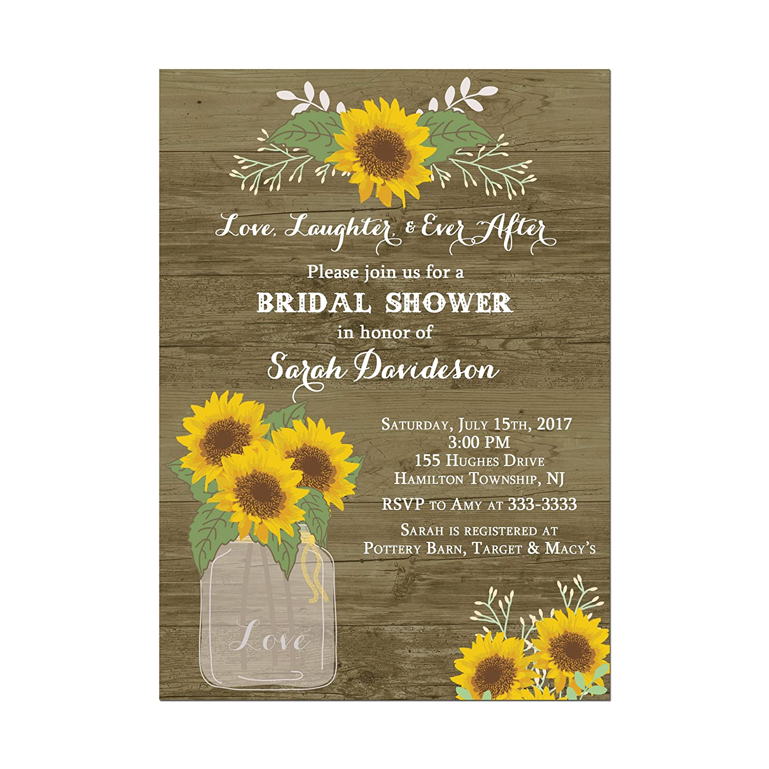 Sunflower Wedding or Bridal Shower Invitations rustic wood design background Set of 10 5x7 inch invitations with white envelopes