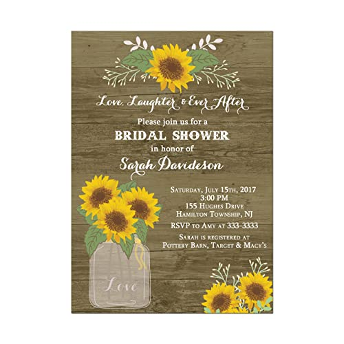 c0a5af579ba7 Image Unavailable. Image not available for. Color  Sunflower Wedding or Bridal  Shower Invitations rustic wood design ...