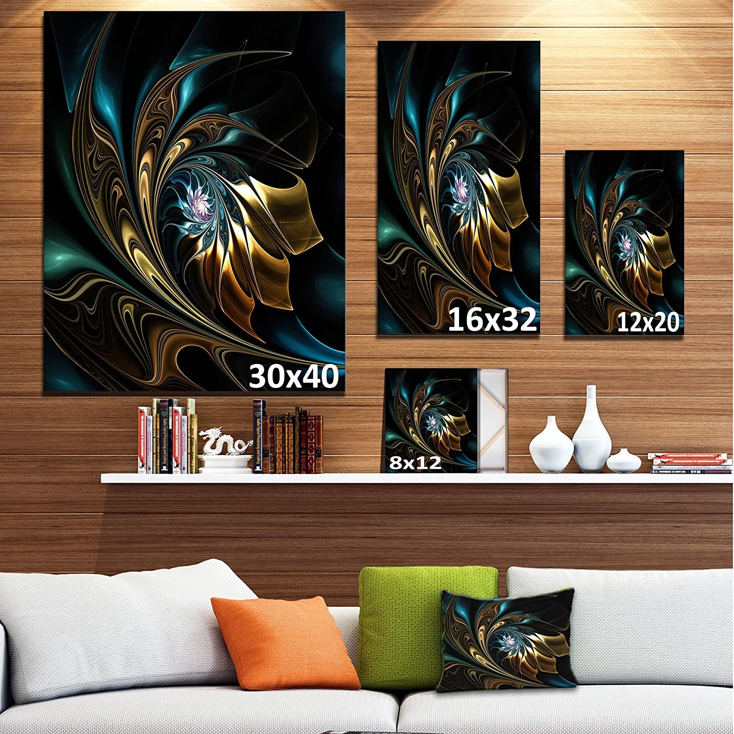 28 H/ x/ 36 W/ x/ 1 D 3P Blue Designart Brown Fractal Flower in Black-Oversized Abstract Canvas Art-28X36 3 Piece