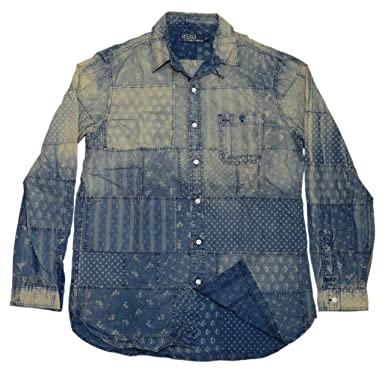 ca13562b Image Unavailable. Image not available for. Color: Ralph Lauren Polo Mens  Patchwork Denim Jean Blue Paisley Casual Shirt Medium