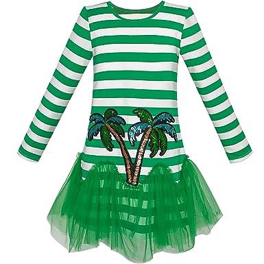 a6d1318fa38 Sunny Fashion Robe Fille Vert Noix de Coco Arbre Bande Laissez Tomber  Taille Tutu 5 Ans