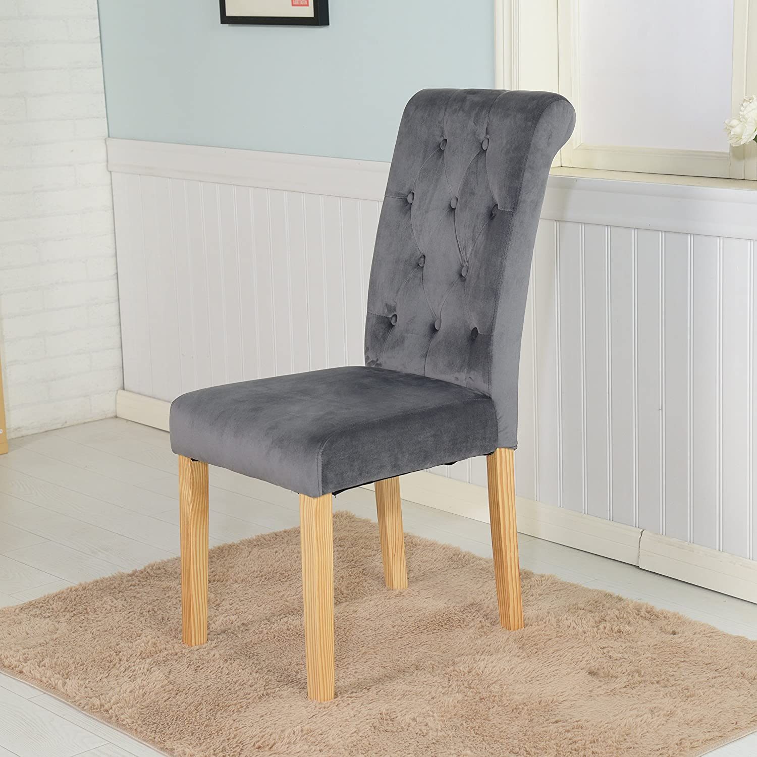 The Home Garden Store Set of 6 Canterbury Velvet Fabric Dining Chairs Scroll High Back Dark Grey
