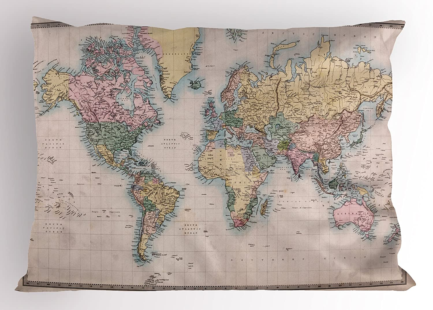 Amazon Com Lunarable World Map Pillow Sham Original Old Hand