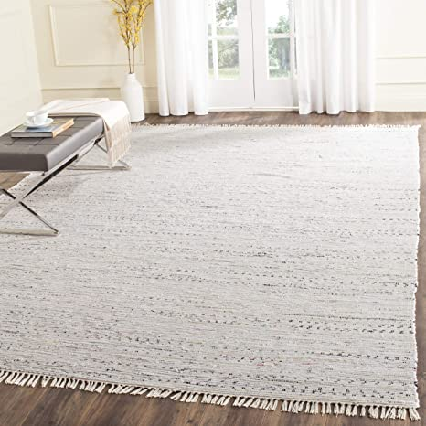 Amazon Com Safavieh Rag Rug Collection Rar121g Handmade Boho Stripe Cotton Area Rug 8 X 10 Ivory Multi Furniture Decor