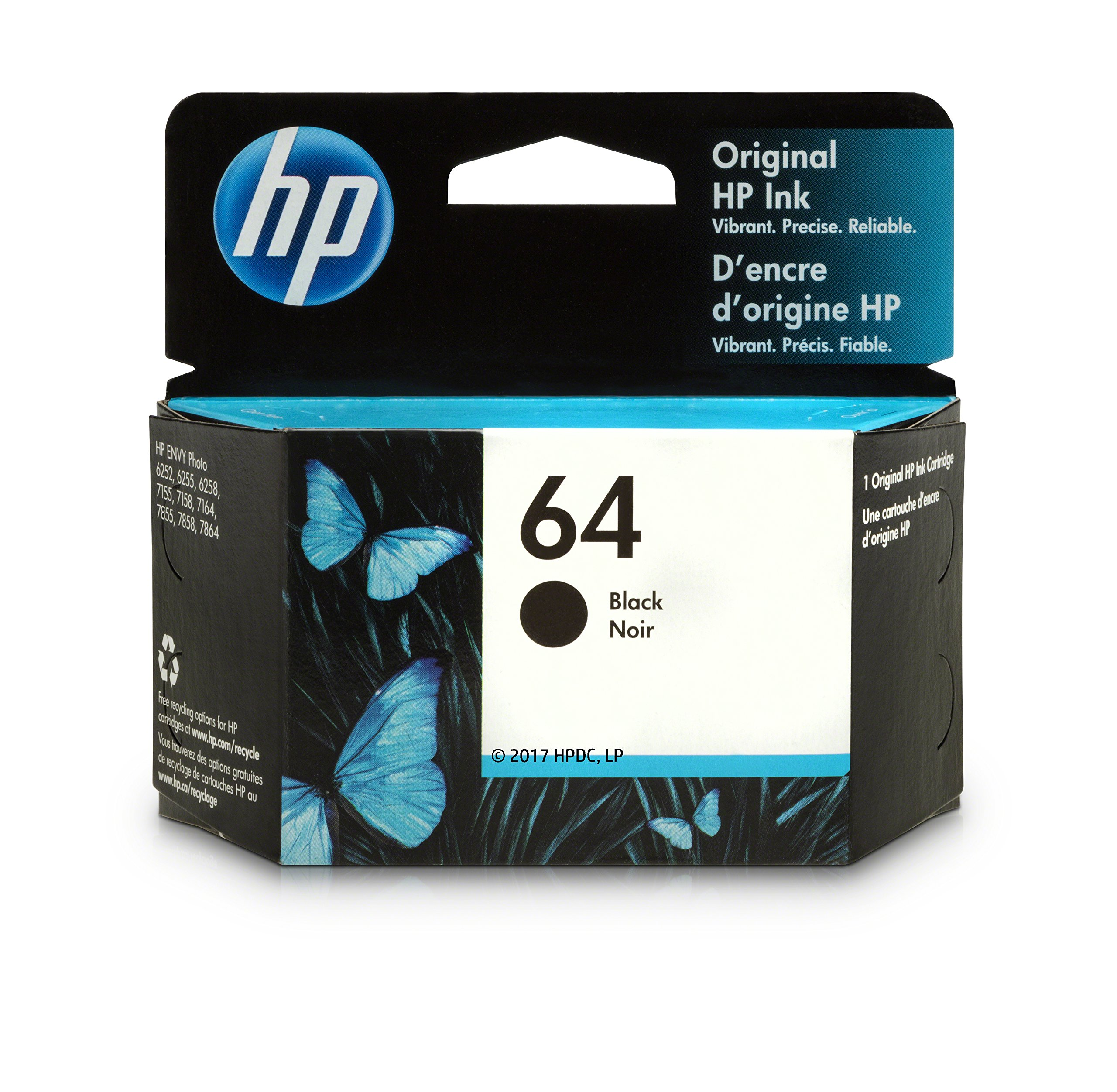 HP 64 Black Original Ink Cartridge (N9J90AN) for HP Envy Photo 6252 6255 6258 7155 7158 7164 7855 7858 7864 HP Envy 5542