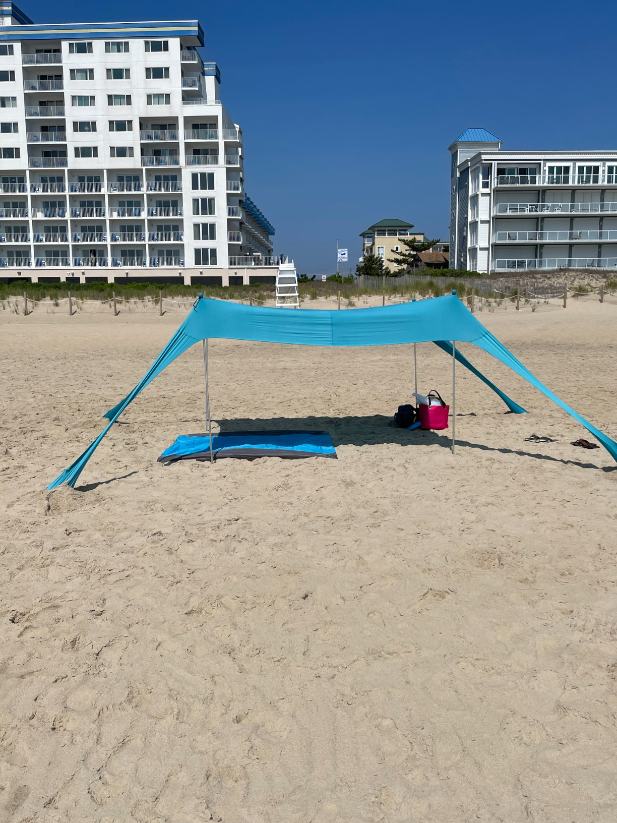 Nice C Beach Tent Canopy, Sun Shelter, Pop Up Sunshade Portable 6.6Ft/10Ft UPF 50+ with Carry Bag, Sand Shovel, Aluminum Poles Umbrella Outdoor, Pool, Garden (6.6x6.6 FT, 4 Pole, Blue) photo review