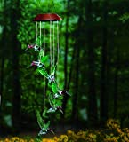 Plow & Hearth Color Changing Solar Powered Hummingbird Hanging Mobile with LED Lights 5 dia. x 28 H