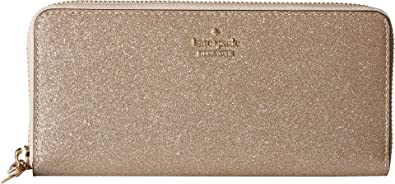 Kate Spade Burgess Court Lindsey Zip Around Wallet Rose Gold Glitter