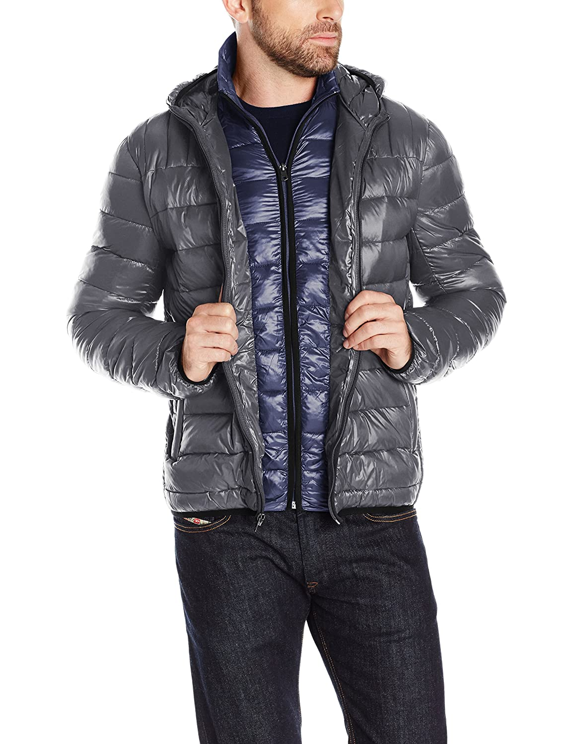 Tommy Hilfiger Mens Insulated Packable Jacket with Contrast Bib and Hood
