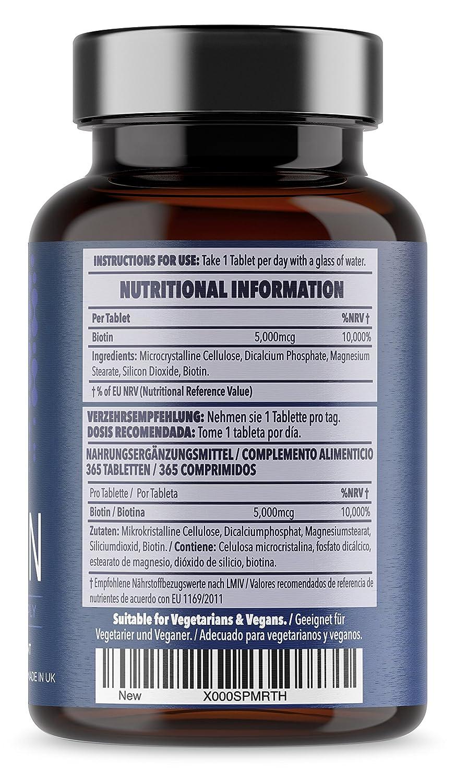 Biotin - Suplemento para el cabello y la piel - 365 comprimidos vegetarianos y veganos - 1 año de suministro - 5000 mcg de biotina - Dosificación segura ...