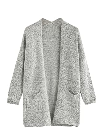 dd5f9e67550cb Amazon.com: SheIn Women's Casual Drop Shoulder Open Front Sweater Cardigan  with Pockets: Clothing