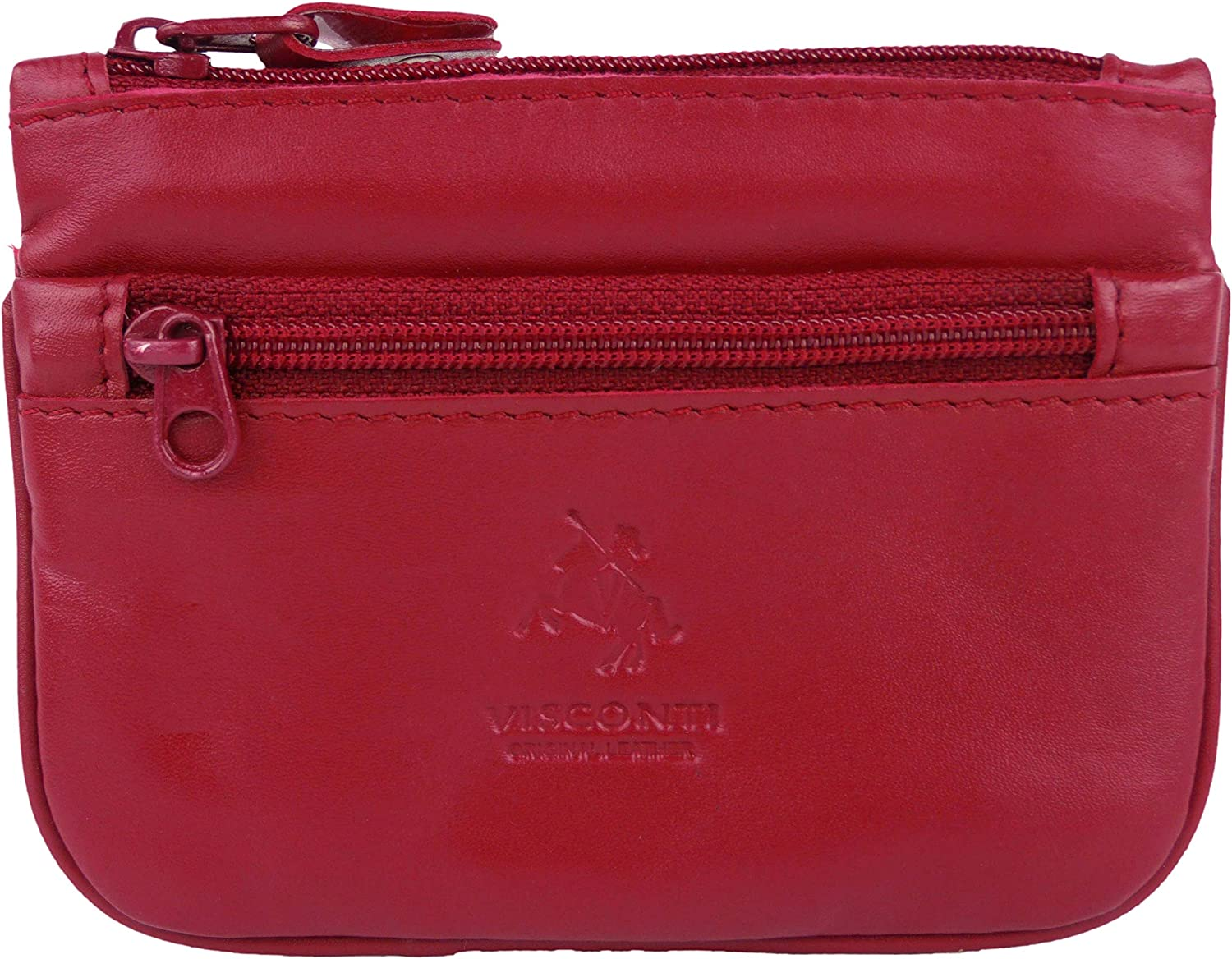 Mens Ladies Quality Leather Coin Purse by Visconti Keys Zip Change 5 Colours