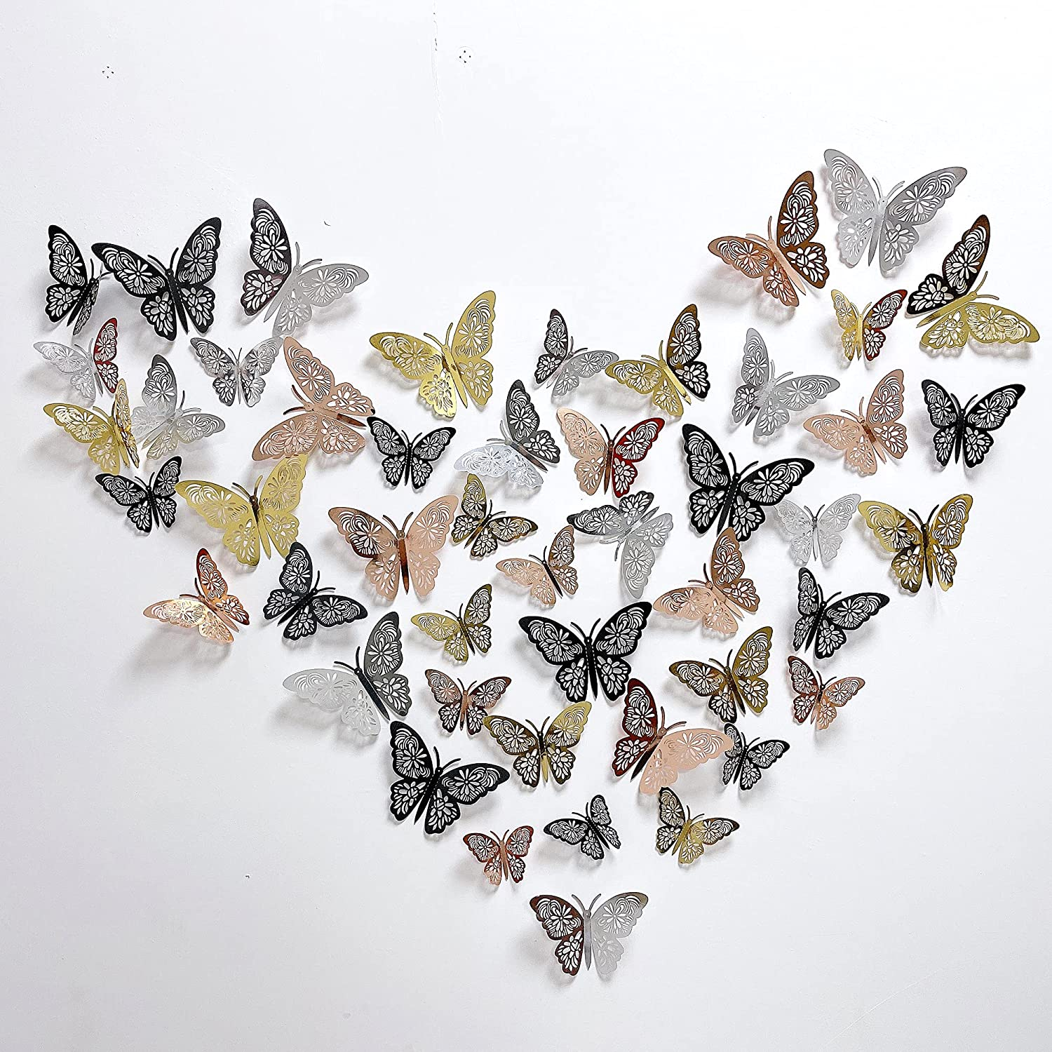 DUQGUHO 48 Pcs Butterfly Wall Decor Stickers Girls Kids Bedroom 3D Art Mural Decoration for Home Living Room Party Nursery Classroom Offices Decor