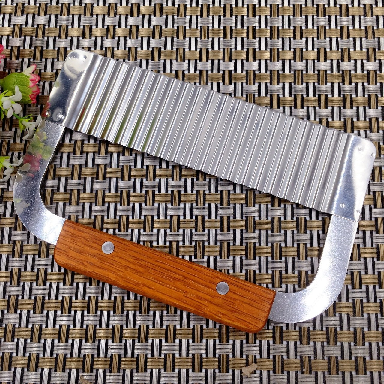 Wavy Crinkle Cutting Tool Vegetable French Fry Slicer Stainless Steel Blade Wooden Handle Serrator Salad Chopping Knife,Set of 2