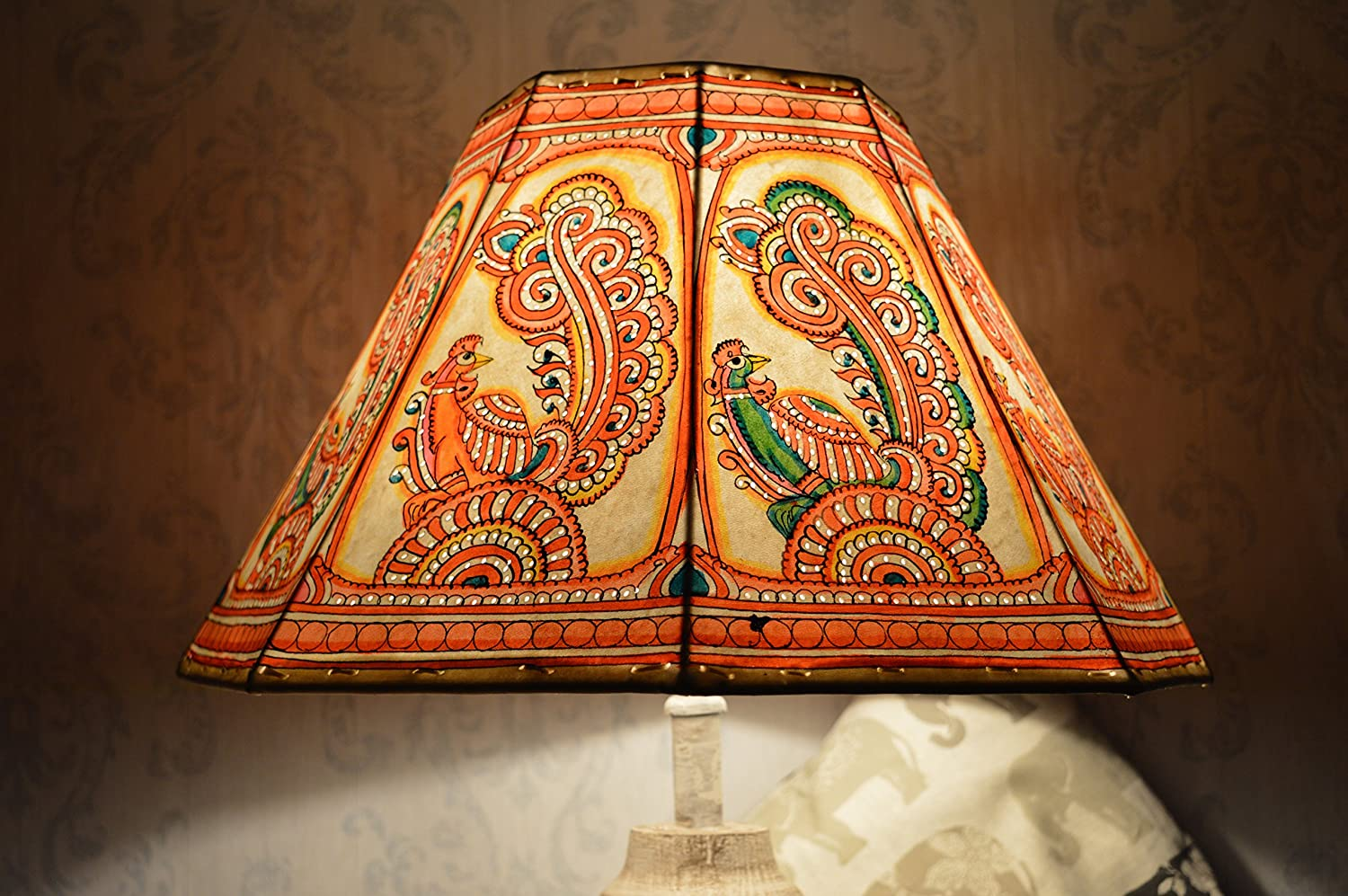 Multi-Colour Peacock Floor Lamp Shade | Hand Painted Leather Lampshade with link chain border | Octagonal Lampshade - H-9.5 and W-16 inches
