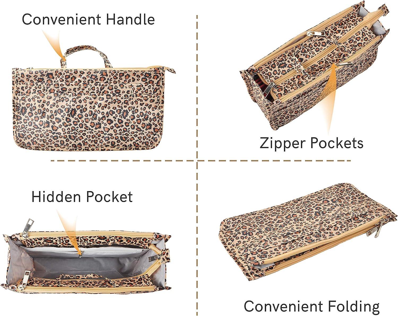 Vercord Purse Handbag Tote Pocketbook Bag Organizer Insert with Zipper Handle for Women Beauty Girl M