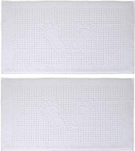 Turkish Home White Bath Mat Set of 2 Bathroom Floor Towel 100% Cotton Washable Mat Thin Long 18 X 34 Inches