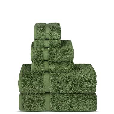 Luxury Hotel & Spa Towel Turkish Cotton Towel Set (6-Piece Towel Set, Moss)