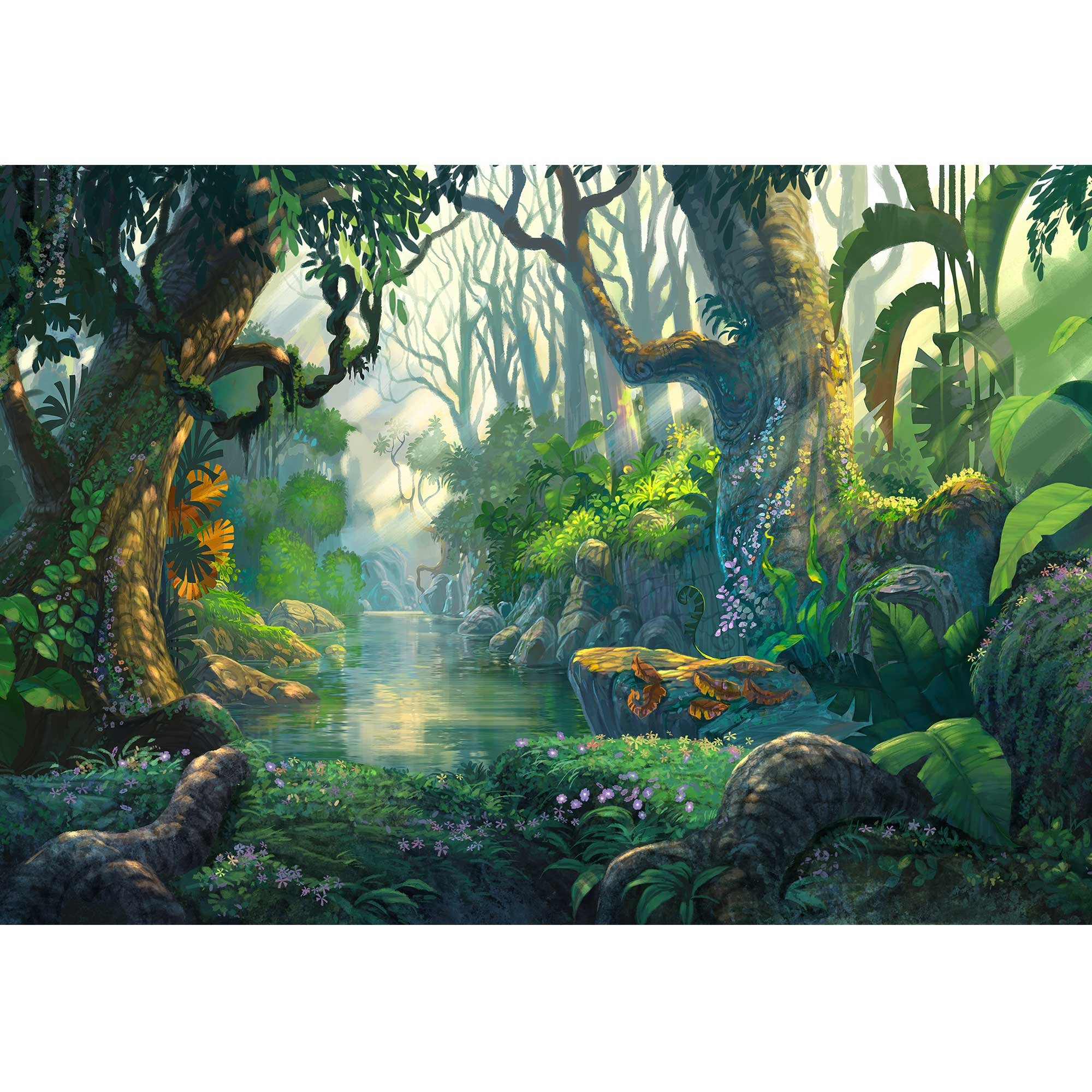 wall26 - Illustration - Fantasy Forest Background Illustration Painting - Removable Wall Mural   Self-Adhesive Large Wallpaper - 100x144 inches by wall26 (Image #2)