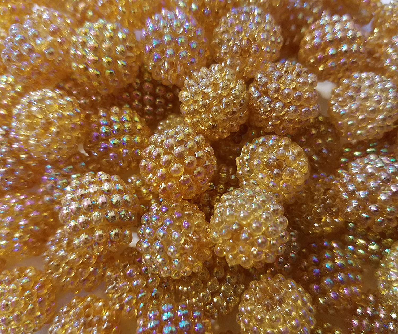 100 pcs Vintage 15mm Iridescent Grape Berry Beads Plastic Acrylic Craft Beading