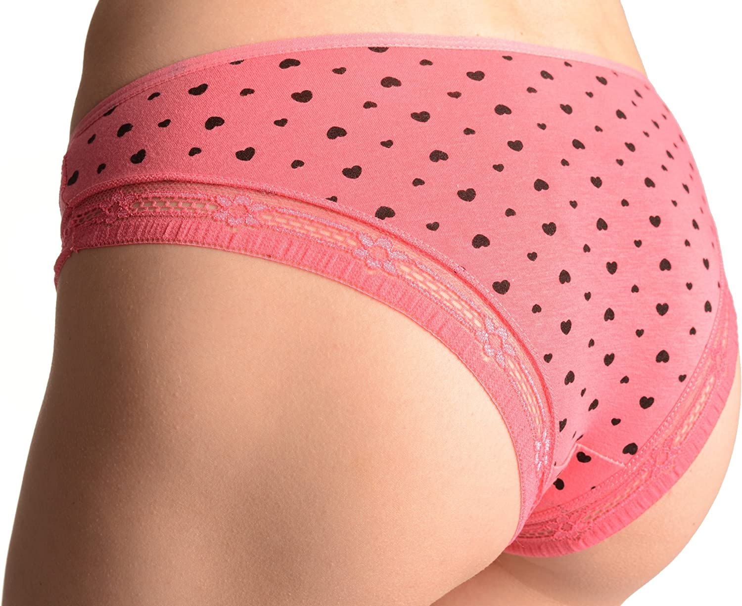 LissKiss Soft Cotton with Small Printed Hearts Melon Pink High Leg Brazilian Knickers