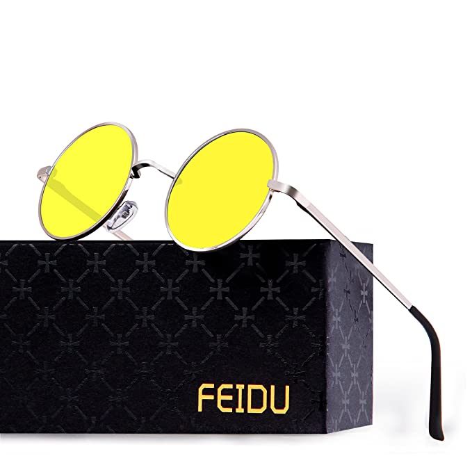 3fde0e6ce2 FEIDU Retro Polarized Round Sunglasses for Men Vintage Sunglasses Women  FD3013 (3013yellow