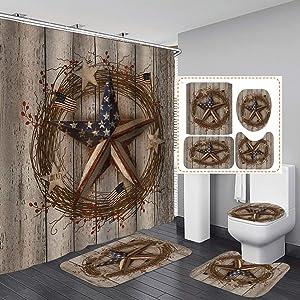 Jayden&Madge 4PCS/Set American Flag Western Texas Star Fabric Shower Curtain, Rustic Barn Wood Plank Vintage Farmhouse Country Bathroom Decor, Non-Slip Bathroom Mat Toilet Rug Bath Mat, Berry Wreath