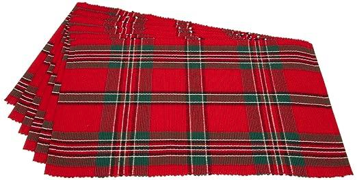 Christmas Tablescape Decor - Tartan plaid ribbed christmas placemats Set of 6
