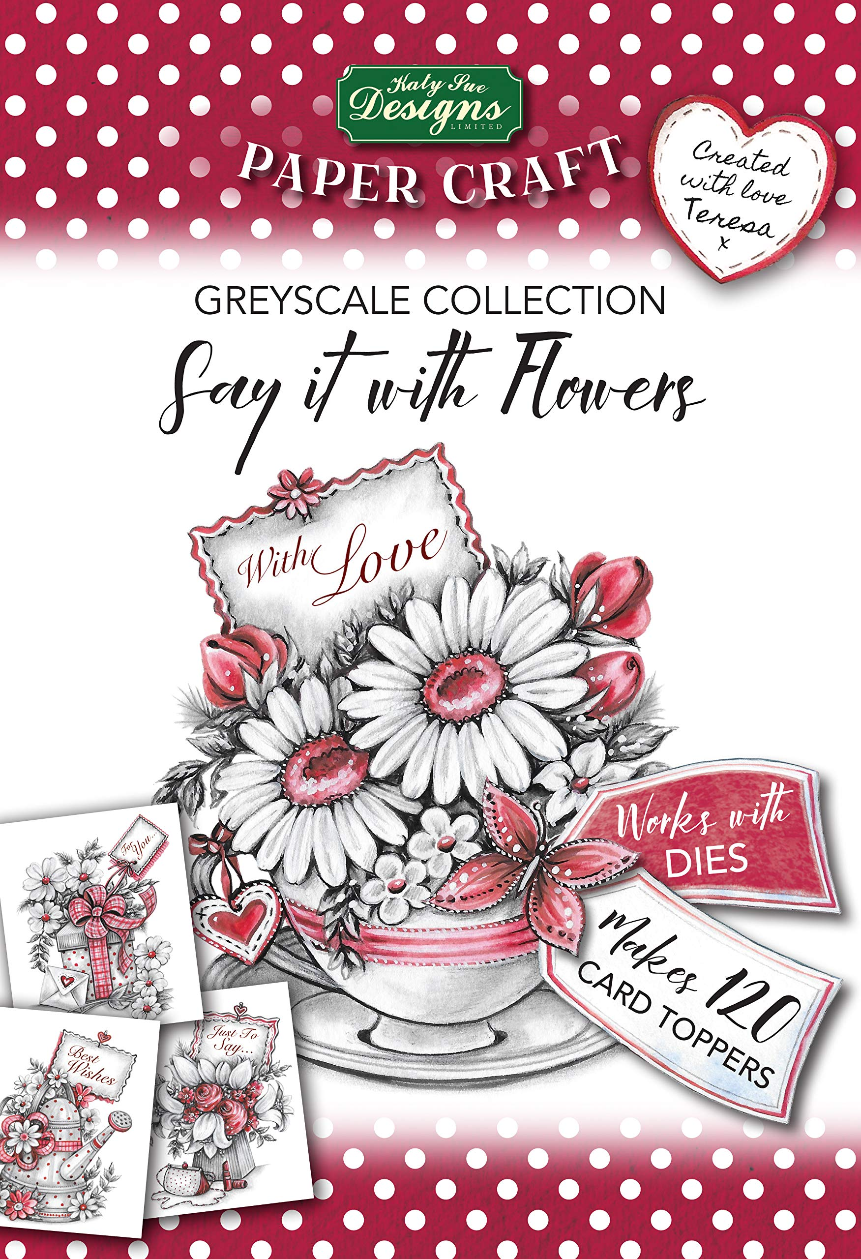 Say it with Flowers Greyscale Collection Paper Pad, Paper Craft Pads, Card Making Kit, Makes 120 Card Toppers, Works with Dies by Katy Sue (Image #1)