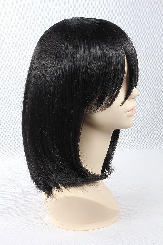 Amazon.com : Attack on Titan - Mikasa Ackerman Anime Wig Short Black Straight Girls Boys Costume Wigs : Beauty