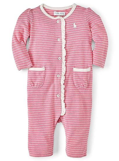 92b341cf3ceb Ralph Lauren Polo Baby Girls Jacquard Coverall Romper Pink 9 M ...