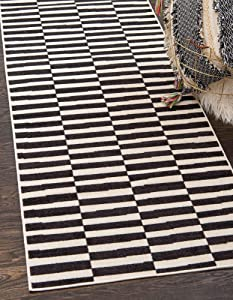 Unique Loom Williamsburg Collection Casual Striped Black Runner Rug (2' 9 x 9' 10)