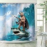 RosieLily Funny Shower Curtain, Bear Shower Curtains Set with 12 Hooks, Waterproof Shower Curtain, Decor Bear Shark Surfing K