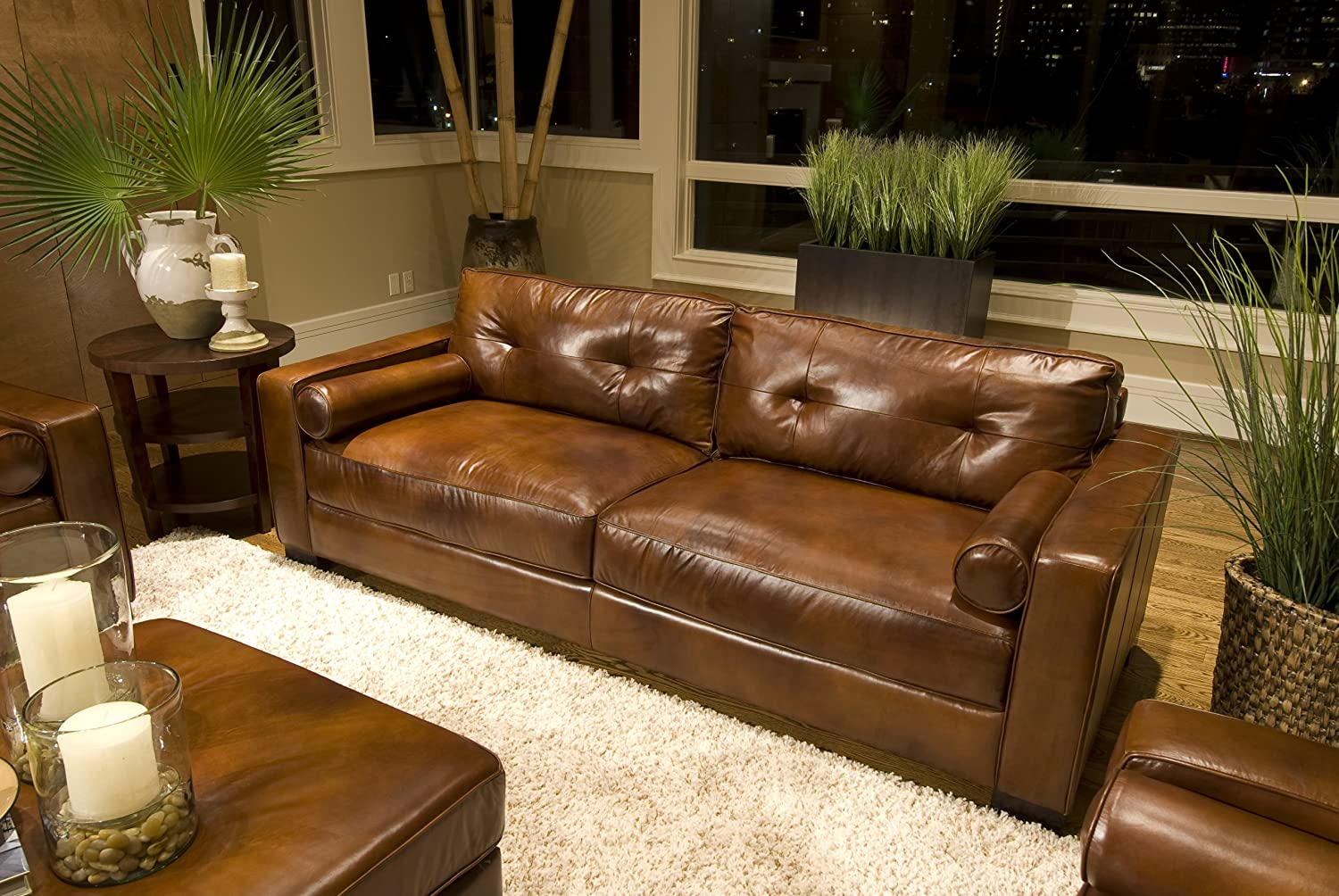 Amazon.com: Elements Soho Top Grain Leather Sofa, Rustic Leather: Kitchen U0026  Dining