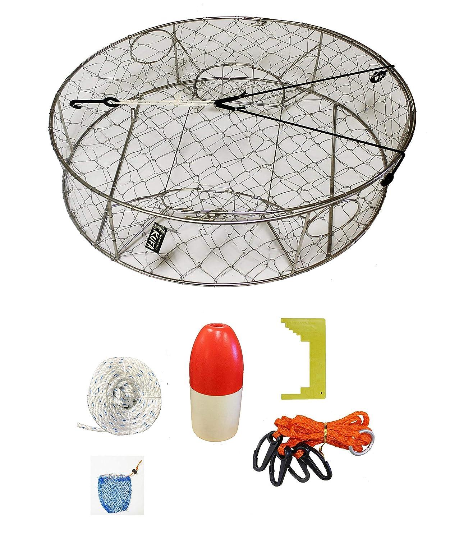 KUFAステンレススチールCrab Trap with亜鉛陽極&アクセサリキット( 100 ' non-lead Sinkingライン、切り、ハーネス、餌バッグ& 14