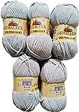 5 x 100 Gramm Babywolle hellgrau 80325 grau, 500 Gramm Wolle Super Bulky zum Stricken und Häkeln
