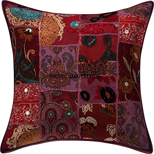 Amazon.com: Indian Traditional Handmade Decorative Cushion ...