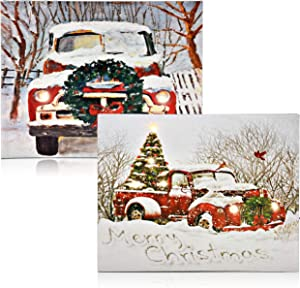 """Christmas Lighted LED Canvas Wall Art -2 Led Fiber Optic Lights Winter Holiday Scene Large 17"""" Merry Christmas Prints With Battery Operated Light Pictures for Door Wall Home Kitchen Porch Decor"""