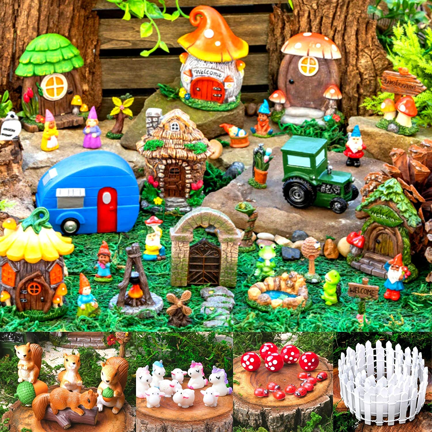 Ellie Arts Fairy Garden Kit for Kids – Fairy House Kit with 60 pcs - Fairy Garden Accessories for Adults and Kids - Fairy Garden Miniatures – Durable Poly Resin – Includes Moss