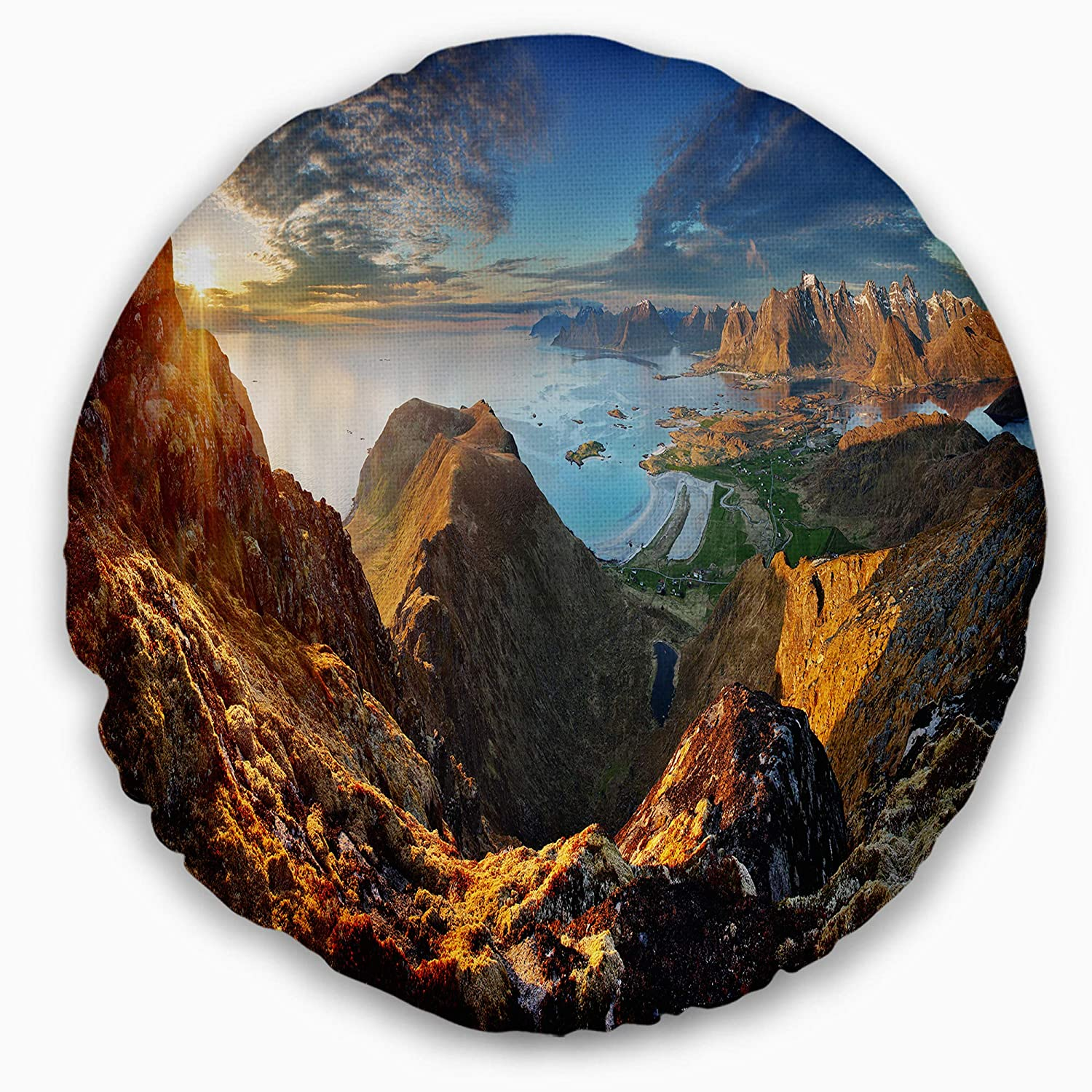Designart CU14041-20-20-C Ocean and Mountains Panorama\' Landscape Printed Round Cushion Cover for Living Room, Sofa Throw Pillow 20\', Insert Side
