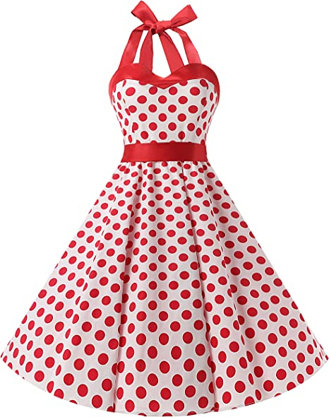 TALLA S. Dresstells® Halter 50s Rockabilly Polka Dots Audrey Dress Retro Cocktail Dress White Red Dot S