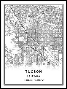 Squareious Tucson map Poster Print | Modern Black and White Wall Art | Scandinavian Home Decor | Arizona City Prints Artwork | Fine Art Posters 11x14