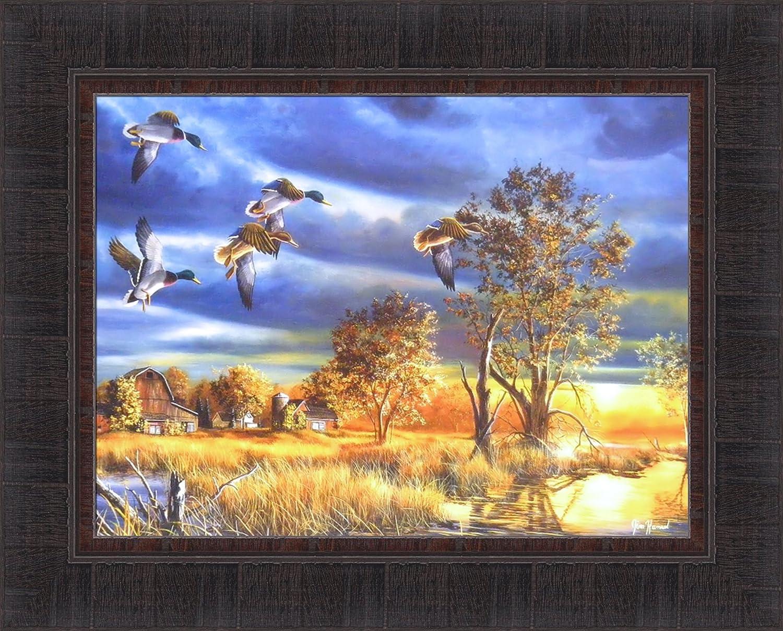 EVENING SPLENDOR by Jim Hansel 17x21 Mallards Ducks Sunset FRAMED ART PICTURE