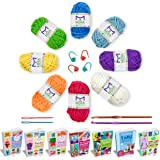 Mira Handcrafts Complete Yarn Starter Pack for Crochet, Crafts, Knitting – Total of 176 Yards DK Yarn, 2 Crochet Hooks, 2 Sewing Needles, 4 Markers, 7 Ebooks with Yarn Patterns All Included