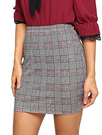 507a59206a SheIn Women's Basic Stretch Plaid Mini Bodycon Pencil Skirt X-Small #Grey#2