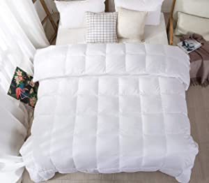 Confibona Lightweight 100% Natural White Goose Down Blanket Comforter for Summer Warm Weather,750Fill Power, Machine Washable,Super Soft Cotton Shell with No Sound, White, Queen Size