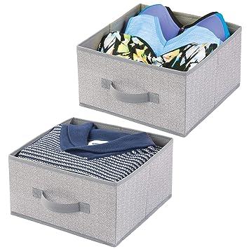 mDesign Juego de 2 cajas organizadoras de fibra sintética – Organizadores para armarios con asa y